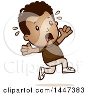 Clipart Of A Retro African American Boy Running Scared Royalty Free Vector Illustration