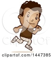 Clipart Of A Retro African American Boy Running Royalty Free Vector Illustration