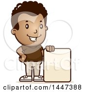 Clipart Of A Retro African American Boy With A Blank Sign Royalty Free Vector Illustration