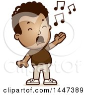 Clipart Of A Retro African American Boy Singing Royalty Free Vector Illustration
