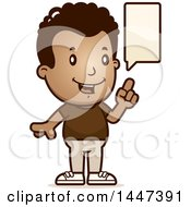 Clipart Of A Retro African American Boy Talking Royalty Free Vector Illustration