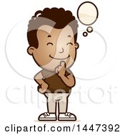 Clipart Of A Retro African American Boy Thinking Royalty Free Vector Illustration