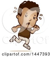 Clipart Of A Retro Tired African American Boy Running Royalty Free Vector Illustration