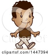 Clipart Of A Retro African American Boy Walking Royalty Free Vector Illustration
