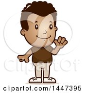 Clipart Of A Retro African American Boy Waving Royalty Free Vector Illustration