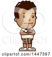 Clipart Of A Retro African American Boy In Shorts Royalty Free Vector Illustration