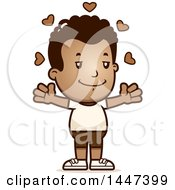 Clipart Of A Retro African American Boy In Shorts With Open Arms And Love Hearts Royalty Free Vector Illustration