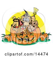 Dogs Inside A Pumpkin On Halloween Clipart Illustration by Andy Nortnik