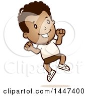 Clipart Of A Retro African American Boy Jumping In Shorts Royalty Free Vector Illustration