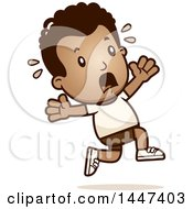 Clipart Of A Retro African American Boy In Shorts Running Scared Royalty Free Vector Illustration