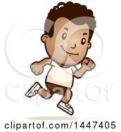 Clipart Of A Retro African American Boy Running In Shorts Royalty Free Vector Illustration