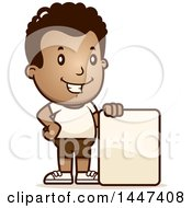Clipart Of A Retro African American Boy In Shorts With A Blank Sign Royalty Free Vector Illustration