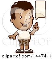Clipart Of A Retro Talking African American Boy In Shorts Royalty Free Vector Illustration