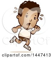 Clipart Of A Retro Tired African American Boy Running In Shorts Royalty Free Vector Illustration