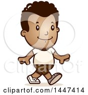 Clipart Of A Retro African American Boy Walking In Shorts Royalty Free Vector Illustration