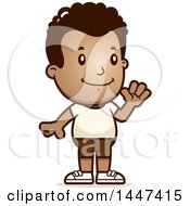 Clipart Of A Retro Waving African American Boy In Shorts Royalty Free Vector Illustration