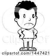 Clipart Of A Retro Black And White Angry African American Boy With Hands On His Hips Royalty Free Vector Illustration