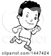 Clipart Of A Retro Black And White African American Boy Running Royalty Free Vector Illustration