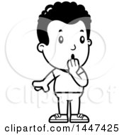 Clipart Of A Retro Black And White Surprised Gasping African American Boy Royalty Free Vector Illustration