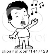 Retro Black And White African American Boy Singing