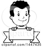 Clipart Of A Black And White Retro Black And White African American Boy Smiling Over A Blank Ribbon Banner Royalty Free Vector Illustration