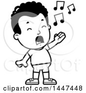 Poster, Art Print Of Retro Black And White Singing African American Boy In Shorts
