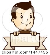 Clipart Of A Retro White Boy Over A Blank Ribbon Banner Royalty Free Vector Illustration