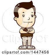 Clipart Of A Retro Bored Or Stubborn White Boy Standing With Folded Arms Royalty Free Vector Illustration