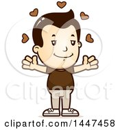 Clipart Of A Retro White Boy With Open Arms And Love Hearts Royalty Free Vector Illustration