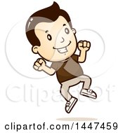 Clipart Of A Retro White Boy Jumping Royalty Free Vector Illustration