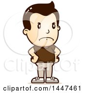 Clipart Of A Retro Angry White Boy With Hands On His Hips Royalty Free Vector Illustration
