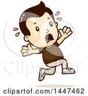 Clipart Of A Retro White Boy Running Scared Royalty Free Vector Illustration