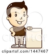 Clipart Of A Retro White Boy With A Blank Sign Royalty Free Vector Illustration by Cory Thoman