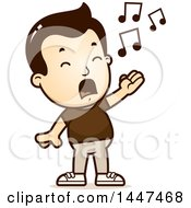 Clipart Of A Retro White Boy Singing Royalty Free Vector Illustration