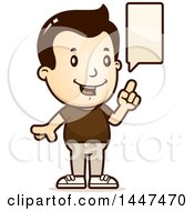 Clipart Of A Retro White Boy Talking Royalty Free Vector Illustration