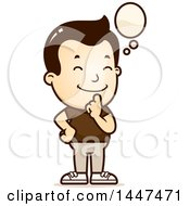 Clipart Of A Retro White Boy Thinking Royalty Free Vector Illustration