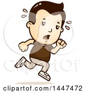 Clipart Of A Retro Tired White Boy Running Royalty Free Vector Illustration