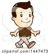 Clipart Of A Retro White Boy Walking Royalty Free Vector Illustration by Cory Thoman