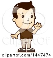 Clipart Of A Retro White Boy Waving Royalty Free Vector Illustration by Cory Thoman