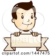 Clipart Of A Retro Caucasian White Boy Smiling Over A Blank Ribbon Banner Royalty Free Vector Illustration