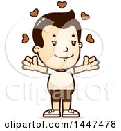Clipart Of A Retro White Boy In Shorts With Open Arms And Love Hearts Royalty Free Vector Illustration by Cory Thoman