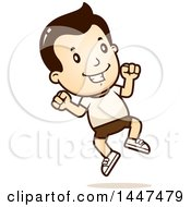 Clipart Of A Retro White Boy Jumping In Shorts Royalty Free Vector Illustration by Cory Thoman