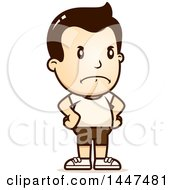 Clipart Of A Retro Angry White Boy In Shorts With Hands On His Hips Royalty Free Vector Illustration