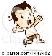 Clipart Of A Retro White Boy In Shorts Running Scared Royalty Free Vector Illustration