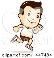 Clipart Of A Retro White Boy Running In Shorts Royalty Free Vector Illustration by Cory Thoman