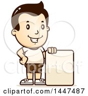 Clipart Of A Retro White Boy In Shorts With A Blank Sign Royalty Free Vector Illustration by Cory Thoman