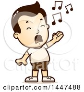 Clipart Of A Retro Singing White Boy In Shorts Royalty Free Vector Illustration