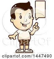 Clipart Of A Retro Talking White Boy In Shorts Royalty Free Vector Illustration