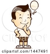 Clipart Of A Retro Thinking White Boy In Shorts Royalty Free Vector Illustration