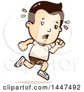 Clipart Of A Retro Tired White Boy Running In Shorts Royalty Free Vector Illustration by Cory Thoman